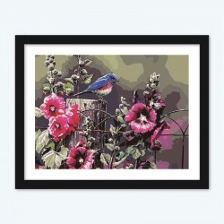 Bird on Floral Fence  diamond paintings