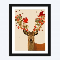 Birds & Flowers on Deer Antlers diamond paintings Kit