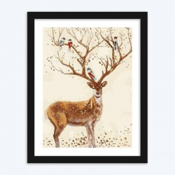 Birds on Deer Antlers diamond paintings Kit