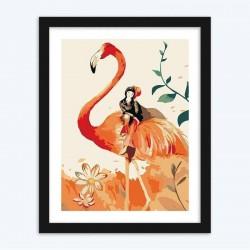 Flamingo & Girl diamond paintings Kit