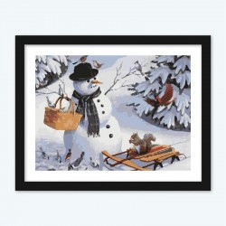 Snow Man, Birds & Squirrel diamond paintings Kit