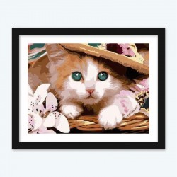 Cute Cat with a Hat Diamond Painting by Numbers
