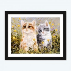 Cute Kittens in the Flowers Diamond Painting with Numbers Kit