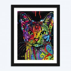 Colorful Cat Cartoon Diamond Painting by number kit for Kids