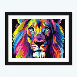 Colorful Lion Abstract Diamond Painting with DIY Kit