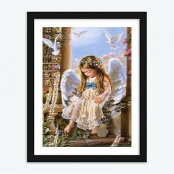 Cute Little Angel with Flowers and Birds Diamond Painting by Numbers