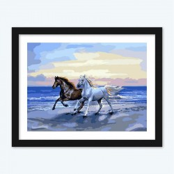 Brown and White Horse Running on the Beach diamond paintings