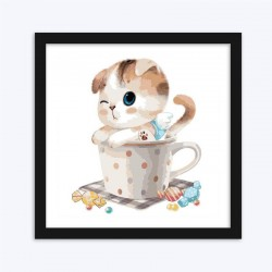 Cute Cat in the Cup diamond paintings For Kids