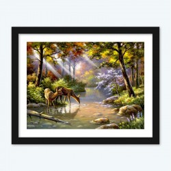 Beautiful Diamond PaintingDeer Drinking Water From Stream in the Forest