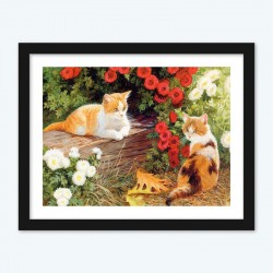 Cats and Flowers Diamond Painting Kit for Adults