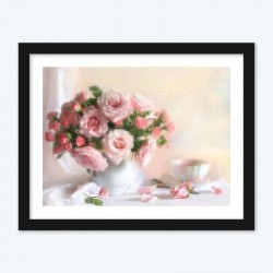 Pink and Red Flowers Diamond Painting by Numbers DIY