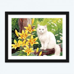 White and Yellow Flowers with White Persian Cat