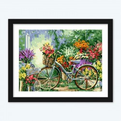 Flowers and Bicycle Paint by Number kit for Adults