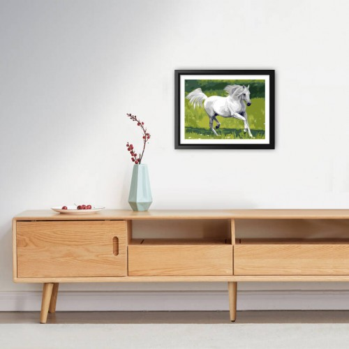 Adorable White Horse  diamond paintings Kit for Adults