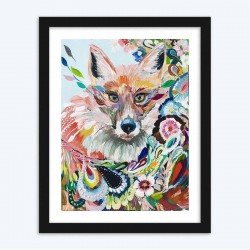 Abstract Floral Fox