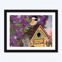 Barn Of Bird On Purple Tree