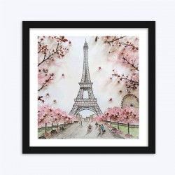 Eiffel Tower with Cherry Blossoms