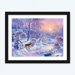 Deer In Winter Snow