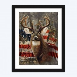 American Flag & Deer  Art
