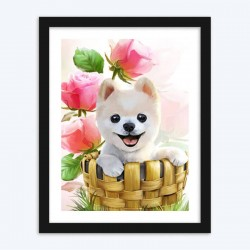 Little Puppy in the Basket