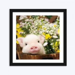 Pig & Flowers Diamond Painting Kit