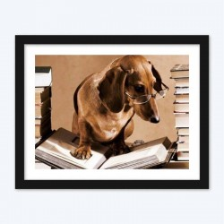 Dog with Glasses  Reading a Book