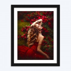 Flowers Garden & Stunning Lady in Red