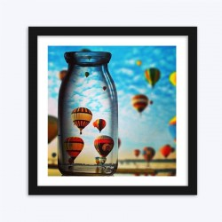 Air Balloons Captured in Glass Bottle