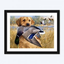 Dog Hunts Duck DIY Diamond Painting Kit