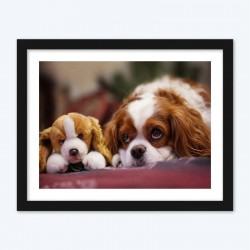 Stuffed Toy & Real Puuppy Diamond Painting