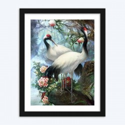 Flowers & Red Crowned Crane in the Forest