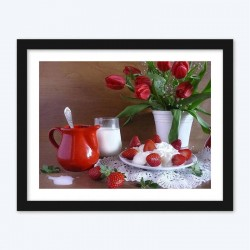 Flowerpot & Strawberries Diamond Painting Kit
