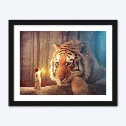 Amazing Girl & Mighty Tiger Diamond Painting Kit