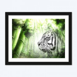 Green Forest Tiger Face Art
