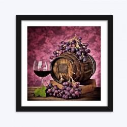Wine Barrel & Grapes  Art Kit
