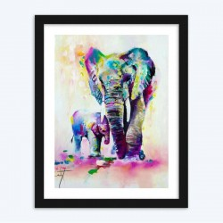Colorful Mother Elephant with Baby DIY Diamond Painting