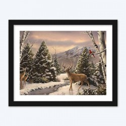 Beautiful Deer on Snow