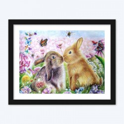 Cute Rabbits & Flowers