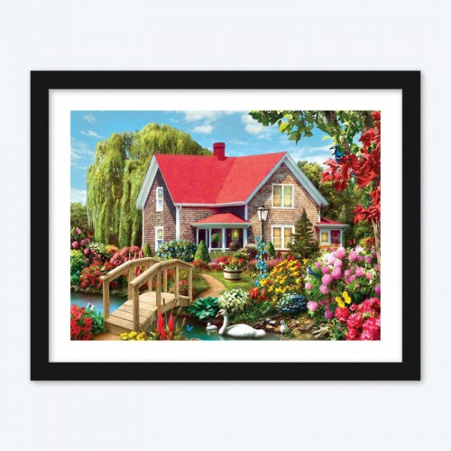 Beautiful House and Colorful Flowers