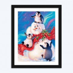 Penguins Christmas Card  art Kit
