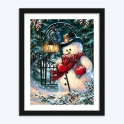Snowman and a Light Paint with  Diamonds