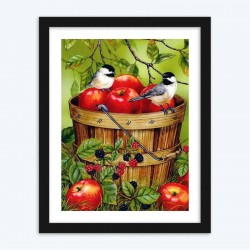 Sparrows  & Apple Bucket Diamond Painting Kit