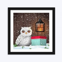 Christmas Gift & White Owl in Snow