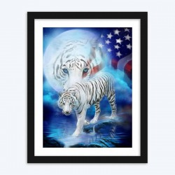 American Flag & Tiger Diamond Painting Kit
