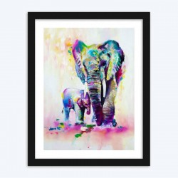 Elephant Baby with Mother Diamond Painting Kit